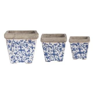 Aged ceramic flower pot set of 3. Ceramics. 10,3x10,3x10,7/14,3x14,3x14,3/20,0x20,0x19,2cm. oq/2,mc/