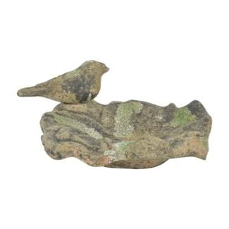 Aged Ceramic birdbath with with moss S.  -  (7.2x7x3.5 inches)