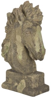 Aged Ceramic horse head with moss - (10.1x4.8x15.9 inches)