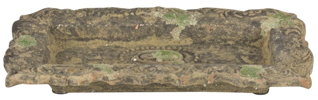 Aged Ceramic plate with moss S -  (13.2x6.8x2 inches)