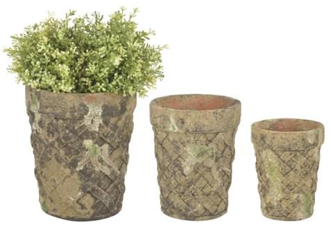 Aged Ceramic flower pot set of 3 with moss - (4.65x4.65x6 / 6.5x6.5x7.9 / 7.8x7.8x9.4 inches)