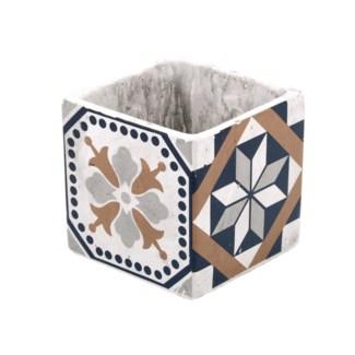 Portuguese tiles flower pot S, Concrete - 4.45x4.45x10.9