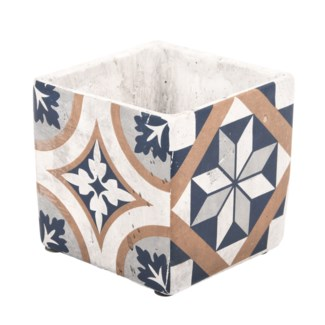 Portuguese tiles flower pot L, Concrete - 5.28x5.28x12.9