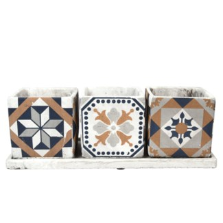 Portuguese tiles 3 pots on tray, Concrete - 14.09x5.39x12.3