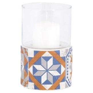 Portuguese tiles hurricane light, Concrete,glass - 4.41x4.41x17.2