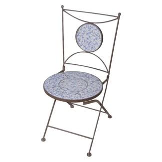 Aged ceramic chair. Ceramics, wrought iron. 42,0x54,2x88,5cm. oq/4,mc/1 Pg.135
