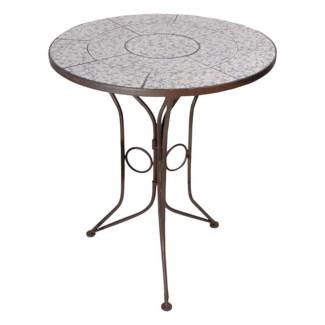 Aged ceramic table. Ceramics, wrought iron. 60,0x60,0x69,5cm. oq/2,mc/1 Pg.135