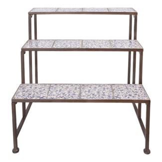 Aged ceramic etagere. Ceramics, wrought iron. 66,5x54,0x66,6cm. oq/2,mc/1 Pg.135