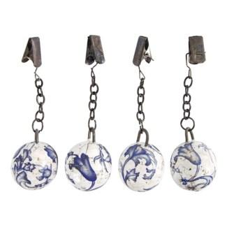 Aged ceramic tableclothweights. Ceramics, metal. 3,2x3,2x10,5cm. oq/24,mc/96