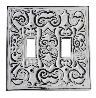 Philip Dbl Switch Plate, Cast Iron, Ant. White, 4.7x4.7