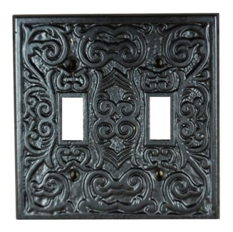 Philip Dbl Switch Plate, Cast Iron, Black PC,  4.7x4.7