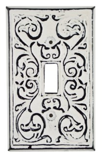 Philip Single Switch Plate, Cast Iron, Ant. White, 4.7x2.8 in