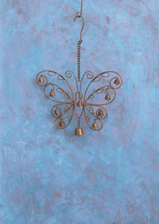 Filigree Butterfly Wind Chime - 12x1x17 inches - On Sale 50 percent off original price 28.8