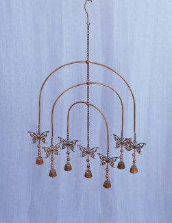 Flamed Butterfly Mobile Wind Chime - 15x28 inches