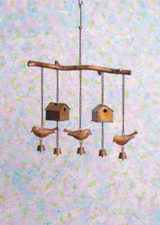 Flamed Bird House and Birds Wind Chime - 16x3x23 inches - On Sale 50 percent off original price 45