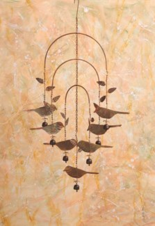 Flamed Birds w/Bells Wind Chime - 12x36 inches