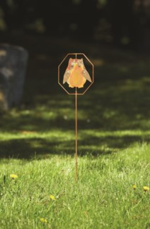 Flamed Owl Garden Stake - 7.5x30 inches - On Sale 50 percent off original price 10.8