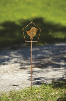 Flamed Bird in House Garden Stake - 7.5x30 inches - On Sale 50 percent off original price 10.8