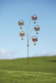 Flamed Owls w/Bells Garden Stake - 18x54 inches - On Sale 50 percent off original price 48.6
