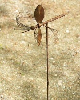 Flamed Dragonfly w/Spinning Wings Garden Stake - 12x14x43 inches - On Sale 50 percent off original p