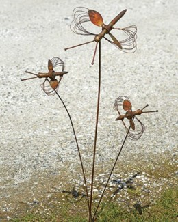 Flamed Triple Dragonfly w/Spinning Wings Garden Stake - 10x8x27 inches - On Sale 50 percent off orig