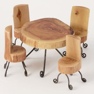 Miniature Wood Table and Chairs Table:3x4,Chair:3.5x2 inch.