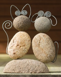Cat and Dog River Stone Duo - 10.5x2.25x11.5 inches