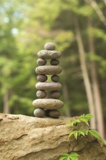 Small and Large Stone Cairn - 4.5x4.5x11.5 inches