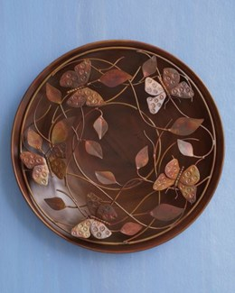 16   Flamed Raised Leaf and Butterflies Wall Disc - 16 diameter inches - On Sale 50 percent off orig