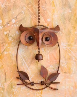 Flamed Owl w/Bell on Branch Ornament - 8x12.75 inches - On Sale 50 percent off original price 45