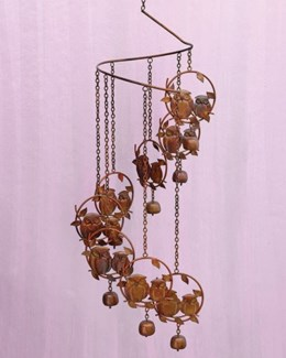 Flamed Owls Spiral Mobile - 8.5x32 inches - On Sale 50 percent off original price 54