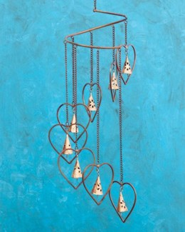 Hearts w/Bells Spiral Mobile - 8x26 inches
