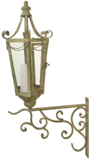 Aged Metal Green wall lantern with hook -  (9.2x15.5x28.2 inches)