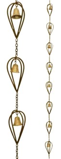Rain Chain Reverse Raindrop Iron Golden Finish. 3.25Dx96    LAST CHANCE!!**