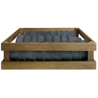 AT grey 24 pots in wooden crate, Terra cotta - 4.49x4.49x9.3