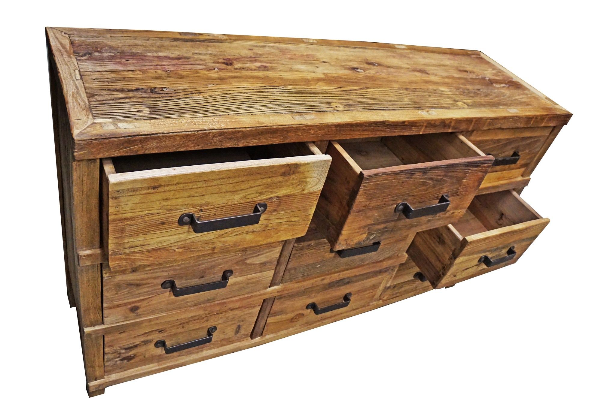 Chest Of 9 Drawers/ Buffet Console Table, Tibetan Elmwood, 59Lx18Dx35.5H,