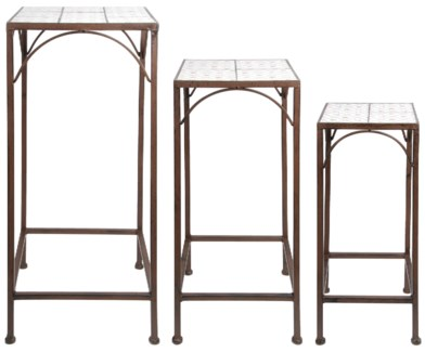 Botanicae plant tables set 3. Ceramics, metal. 21,0x21,0x55,0cm/25,0x25,0x65,0cm/29,0x29,0x75,0cm.