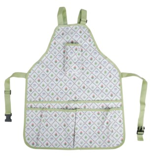 Botanicae apron. Polyester fabric with PU coating, Nylon (for webbing), PP (for buckle). 29.5x17.9x