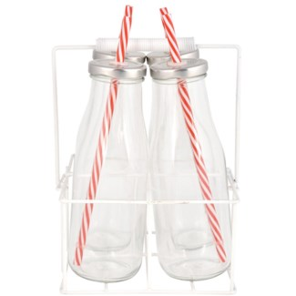 Set/4 drinking bottles in carrier L. Glass, metal, tin, PP, silicone. 17,0x15,6x24,0cm. oq/6,mc/6 P