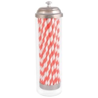 Straw dispenser with paper straws. Glass, paper, metal. 7,0x7,0x24,0cm. oq/12,mc/12 Pg.87