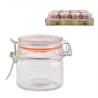 Flip top jar set 12 pcs S. Glass, metal, rubber. 27,5x24,0x7,5cm. oq/8,mc/8