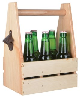 Bottle crate with opener. Pinewood, birch wood, cast iron. 27,7x16,4x34,2cm