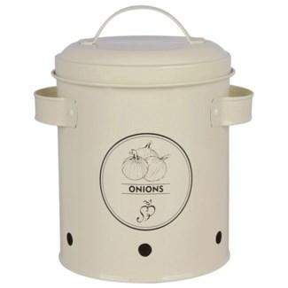 Storage tin onions. Carbon Steel. 17,5x14,7x19,7cm. oq/6,mc/6 Pg.89