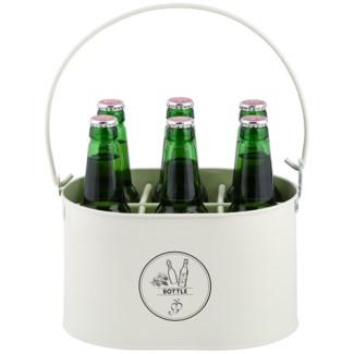 Bottle carrier with opener, Galvanized steel - 10.91x7.17x13.5