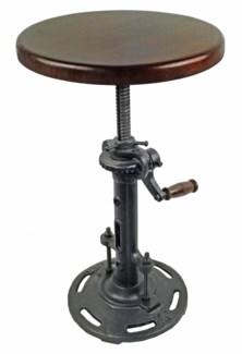 Cast Iron Stool With Wood Seat - Adjustable