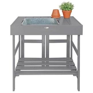 Potting table grey. Pinewood, zinc. 78,5x58,0x81,8cm. oq/2,mc/1 Pg.125