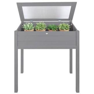 Tall cold frame grey. Pinewood, glass. 90,0x50,5x101,0cm. oq/2,mc/1 Pg.125
