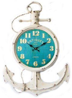 Anchor Wall Clock With Teal Screen, 13.8x2.37x21inch
