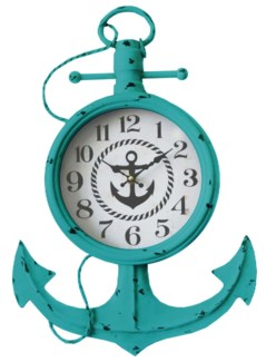 Anchor Wall Clock Teal, 13.8x2.37x21inch