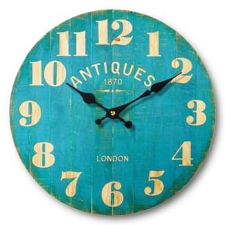 Antique Restaurant Clock, Teal, 13 inch Diameter